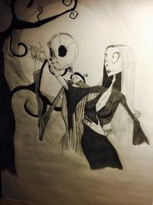 My Drawing of Tim Burton Jack and Sally .